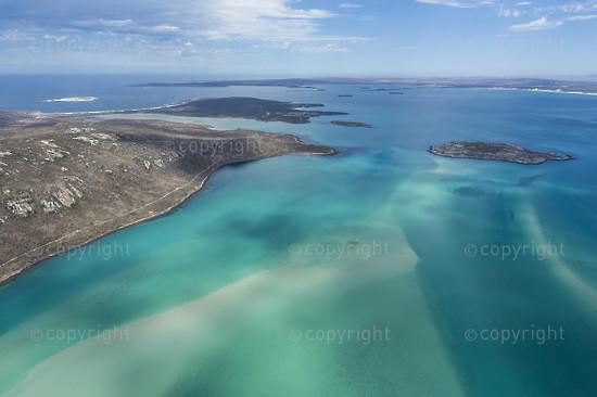 Aerial view of the Langebaan Lagoon looking northwards over Schaapen and Malgas Islands
