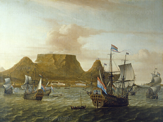 Cape Town in 1683, the ship Africa in the foreground, 1683