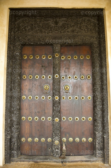 Old Zanzibar decorated door, Lamu, Lamu Archipelago, Kenya