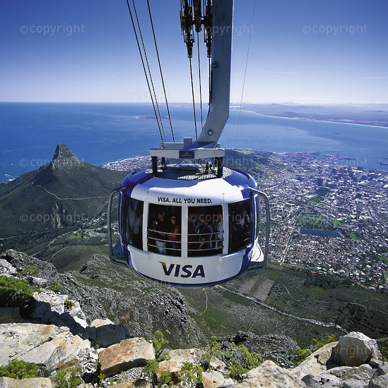 Cable car ascending Table Mountain