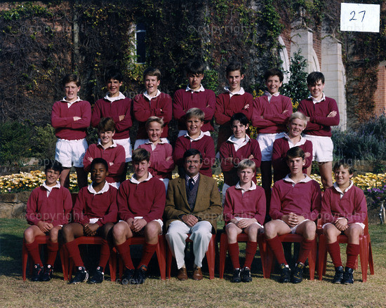 U13A Rugby 1993  |  Back Row (L to R) ... J Boyd, G Erasmus, J Endersby, A Lewis, S Myburgh, R Laubscher, H Irving  |  Middle Row ... S Schoon, B Turner, J Arnold, B Maitland-Stuart, T Dunn  |  Front Row ... M Macres, T Mosese, C Purchase, Mr N Cahall, M Cook, N Oscroft, S Hughes