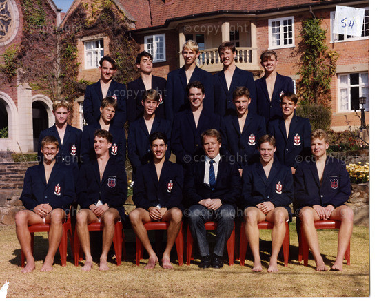 East Swimming 1993  |  Back Row (L to R) ... L Potter, J Acker, F van Zyl, A Campbell, M Eslick  |  Middle Row ... P Balledon, B Wacher, N Oscroft, J Faircliff, C Friderichs, S Paton  | Front Row ... M Lowe, M Witherspoon, J John, Mr B Strauss, S Porter, S Fraser