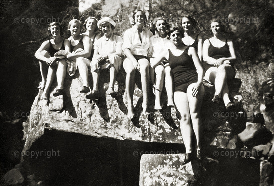 On a hike with Miss Milne (English teacher - 4th from left)
