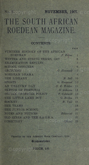 The South African Roedean Magazine November 1907