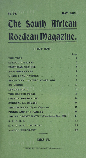 The South African Roedean Magazine  May 1913