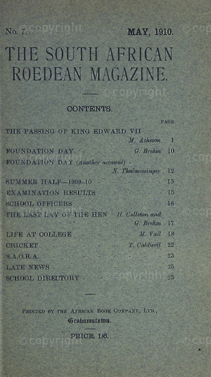 The South African Roedean Magazine May 1910