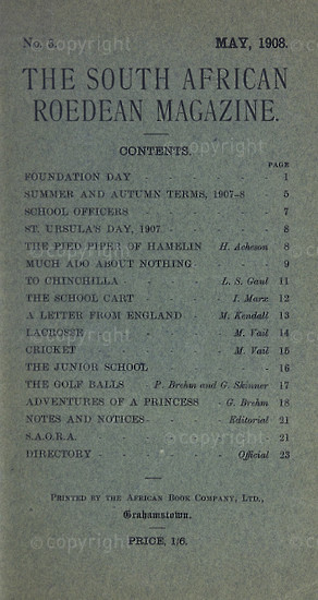 The South African Roedean Magazine May 1908