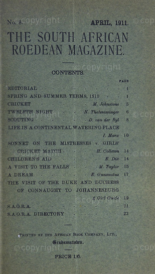 The South African Roedean Magazine April 1911