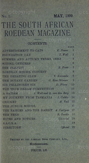 The South African Roedean Magazine May 1909