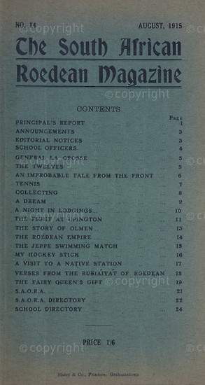 The South African Roedean Magazine August 1915