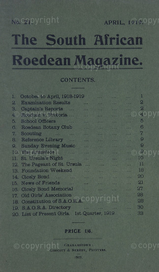 The South African Roedean Magazine April 1904
