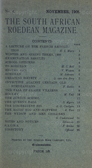 The South African Roedean Magazine November 1911