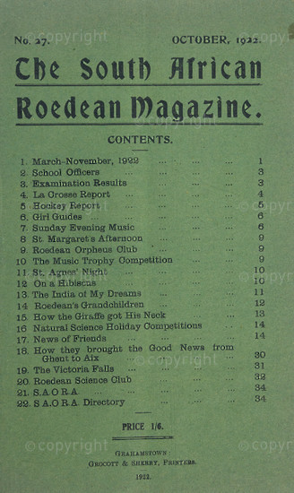 The South African Roedean Magazine October 1922