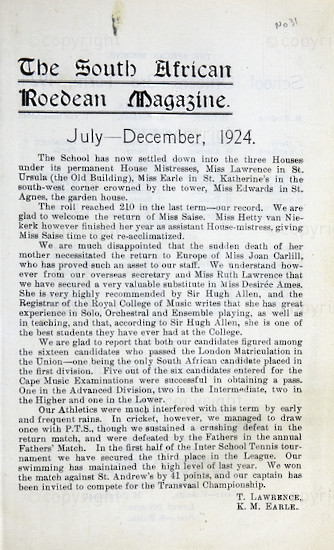 The South African Roedean Magazine December 1924