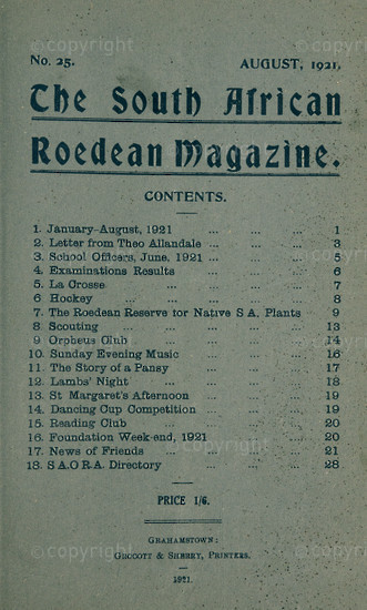 The South African Roedean Magazine August 1921