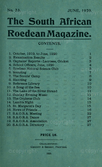 The South African Roedean Magazine June 1920