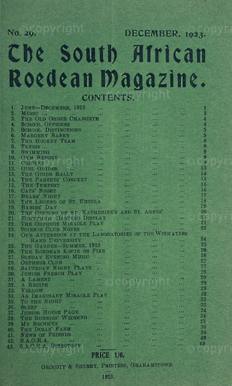 The South African Roedean Magazine December 1923