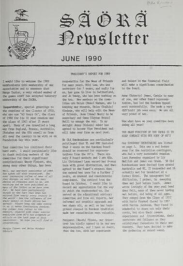 SAORA Newsletter, June 1990.