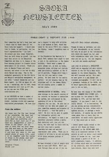 SAORA Newsletter, May 1989.