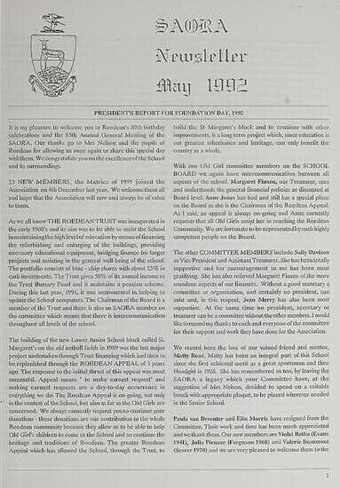 SAORA Newsletter, May 1992.