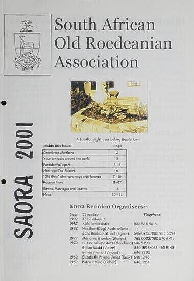 SAORA Newsletter, 2001.