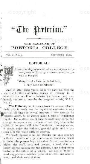 The Pretorian, September 1909, Vol. 1, No. 1