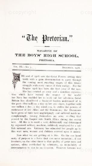 The Pretorian, December 1916, Vol. 3, No. 3