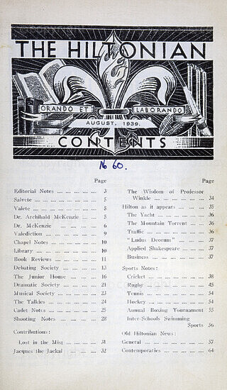 The Hiltonian, August 1939, No. 60