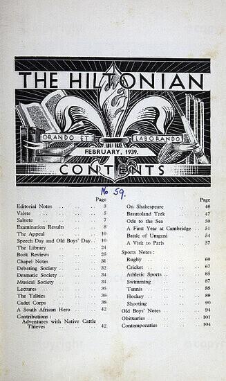 The Hiltonian, February 1939, No. 59