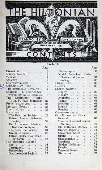The Hiltonian, November 1952 , No. 84