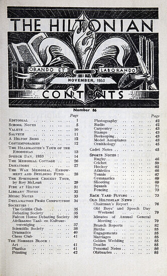 The Hiltonian, November 1953, No. 86