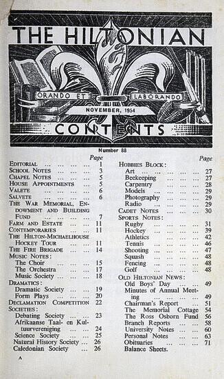 The Hiltonian, November 1954, No. 88