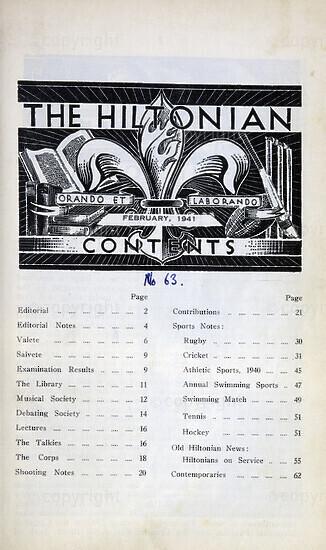 The Hiltonian, February 1941, No. 63