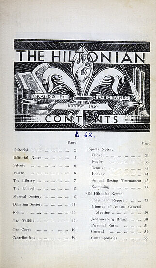 The Hiltonian, August 1940, No. 62