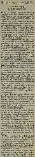 Newspaper Article (Rugby Results)