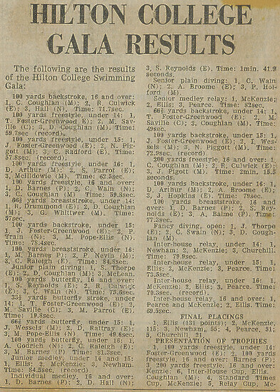 Newspaper Article (Swimming Results)