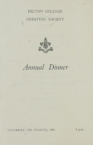 Menu for Official Dinner