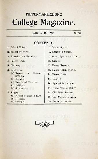 Maritzburg College Magazine November 1930