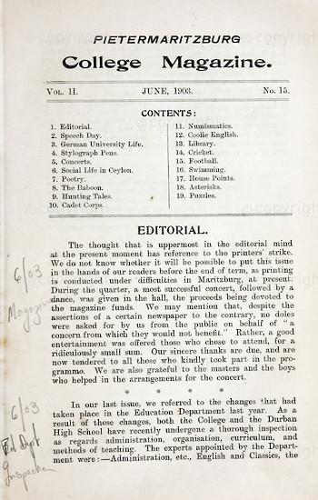 Maritzburg College Magazine June 1903