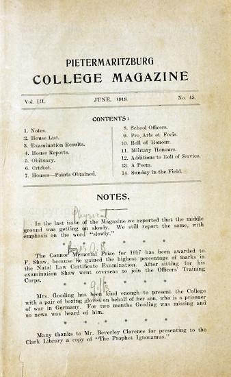 Maritzburg College Magazine June 1918