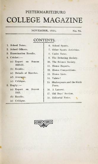 Maritzburg College Magazine November 1931