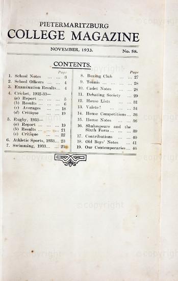 Maritzburg College Magazine November 1933