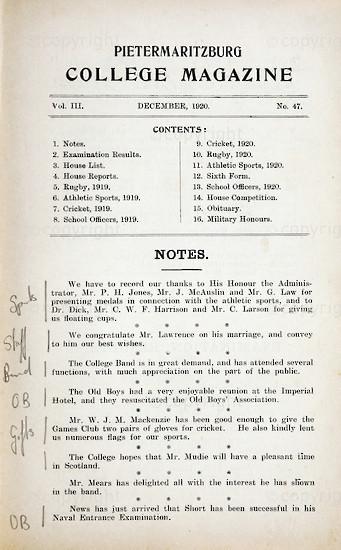 Maritzburg College Magazine December 1920