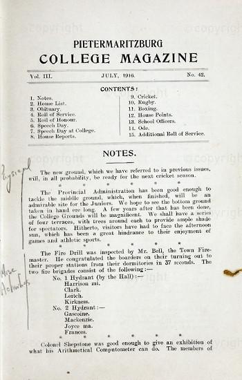 Maritzburg College Magazine July 1916