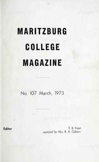 Maritzburg College Magazine March 1973