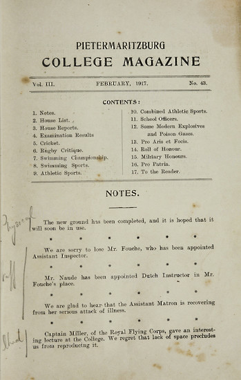 Maritzburg College Magazine February 1917