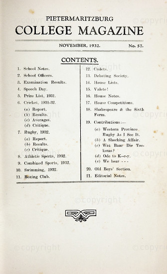 Maritzburg College Magazine November 1932