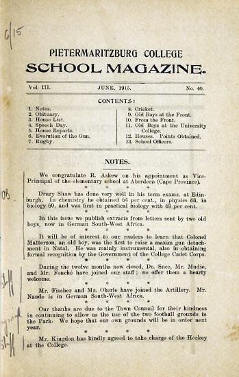 Maritzburg College Magazine June 1915