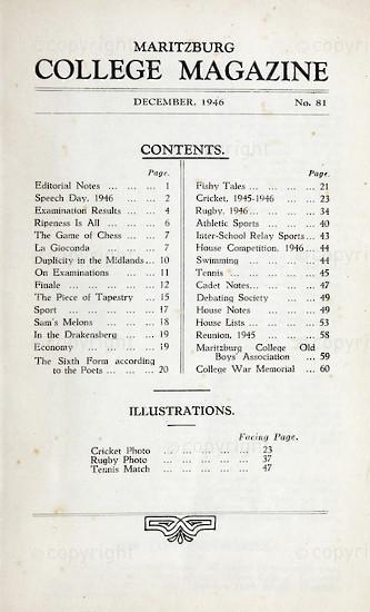 Maritzburg College Magazine December 1946