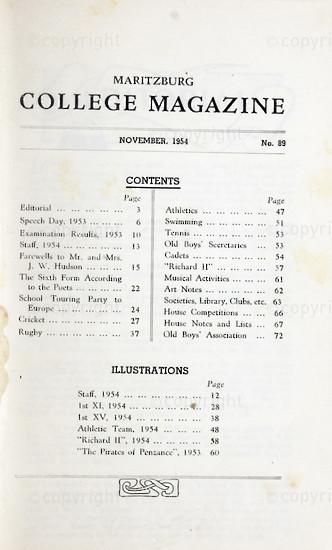 Maritzburg College Magazine November 1954